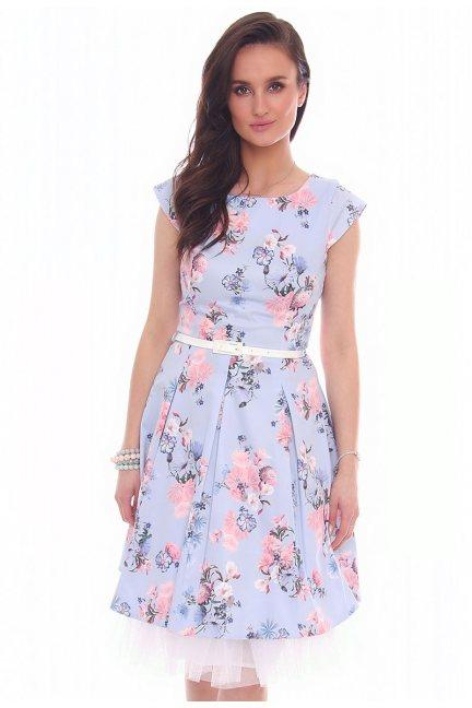 Sukienka w kwiaty midi CMK519 błękitna