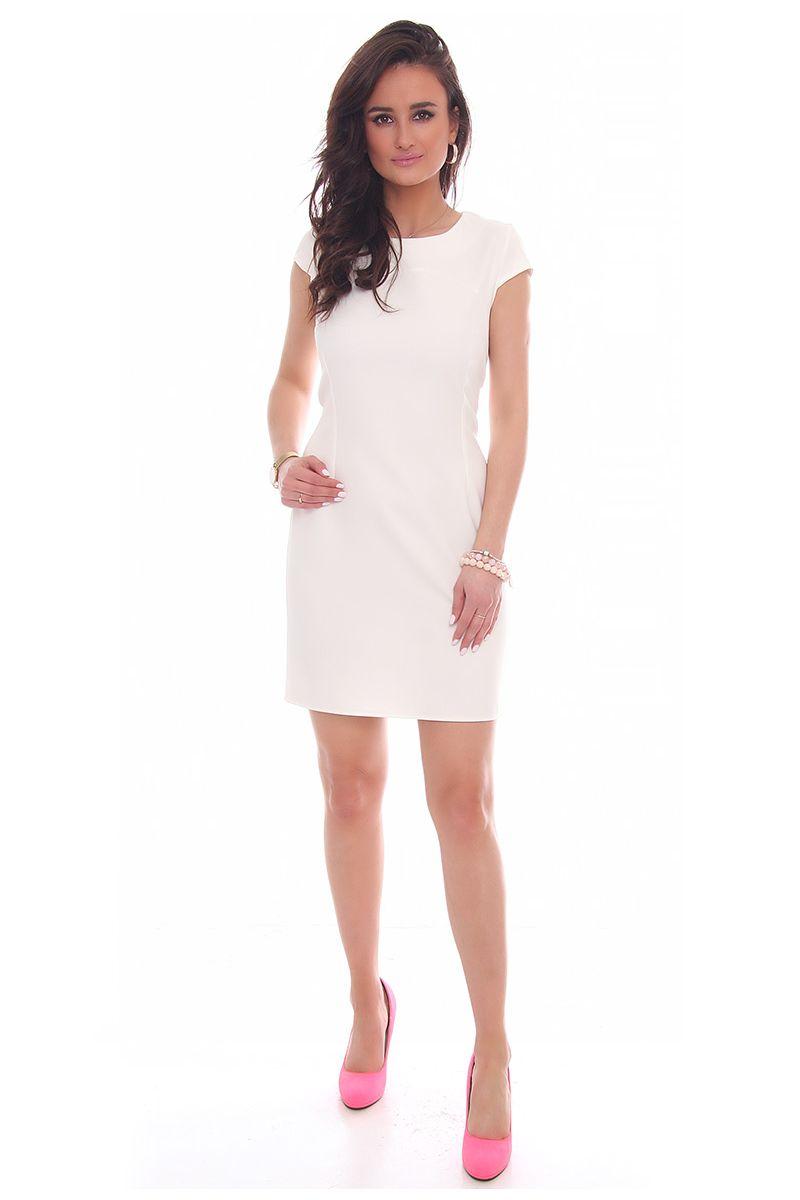 1cd9cfbf79 Sukienka ołówkowa mini CMK37 biała  Sukienka elegancka na wesele ...