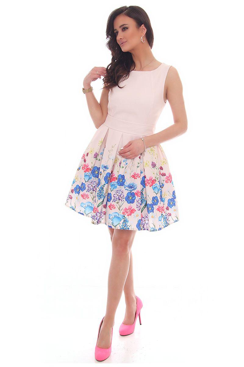 2a5041ad7c Sukienka rozkloszowana CMK39 pudrowy róż  Sukienka elegancka na wesele   Sukienka damska wiązana w pasie  Sukienka modna w kwiaty ...