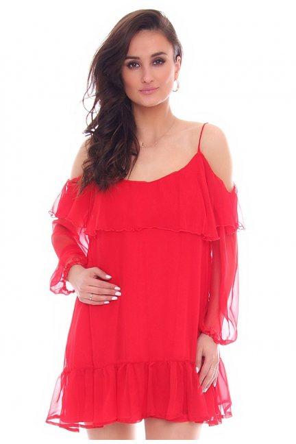 Sukienka hiszpanka falbanki CMK785 czerwona