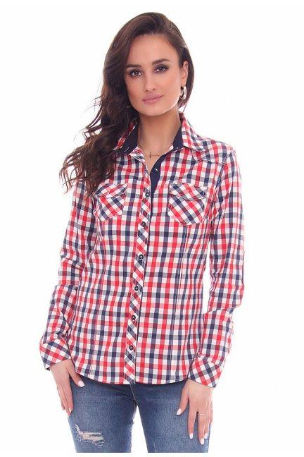 Koszula dopasowana w kratkę CMK64 czerwona