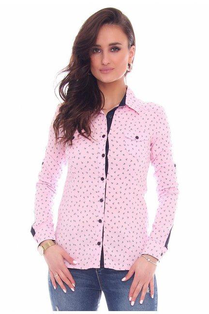 Koszula w kotwice łatka CMK60 pudrowy róż