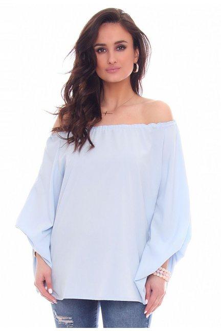 Bluzka elegancka bufki CMK47 błękitna