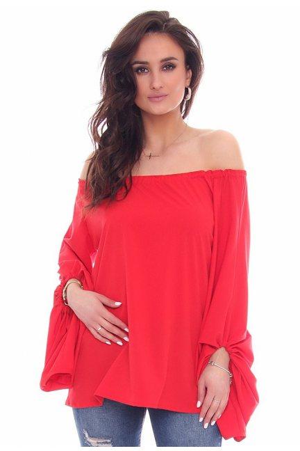 Bluzka elegancka bufki CMK47 czerwona