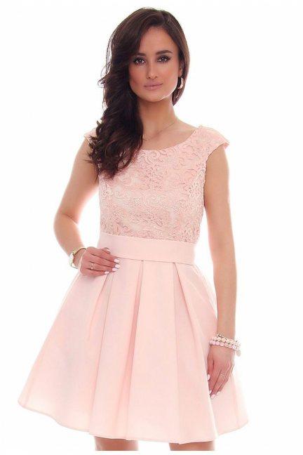 Sukienka z zakładkami CMK41 różowa