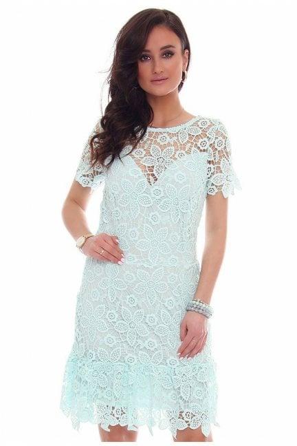Sukienka falbanka gipiura CMK40 miętowa