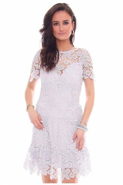Sukienka falbanka gipiura CMK40 szara