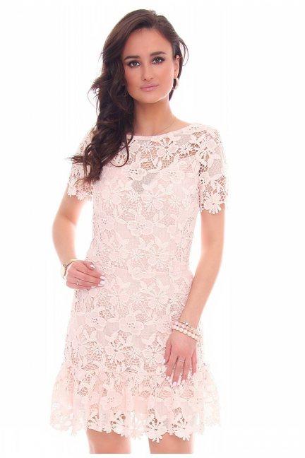 Sukienka falbanka gipiura CMK40 różowa