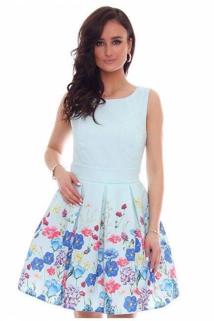 Sukienka rozkloszowana CMK39 miętowa