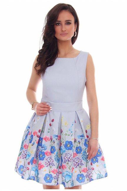 Sukienka rozkloszowana CMK39 szara