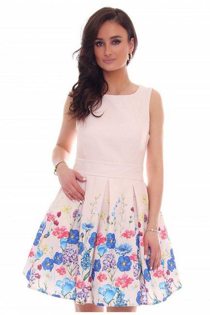 Sukienka rozkloszowana CMK39 pudrowy róż