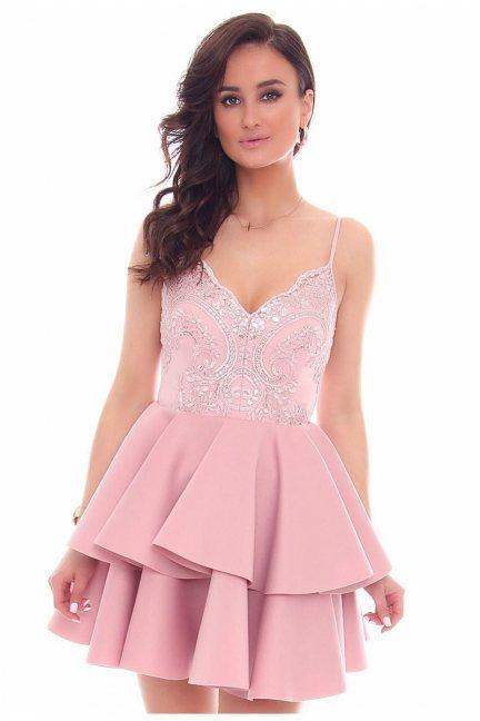 Sukienka mini z falbankami CMK38 różowa