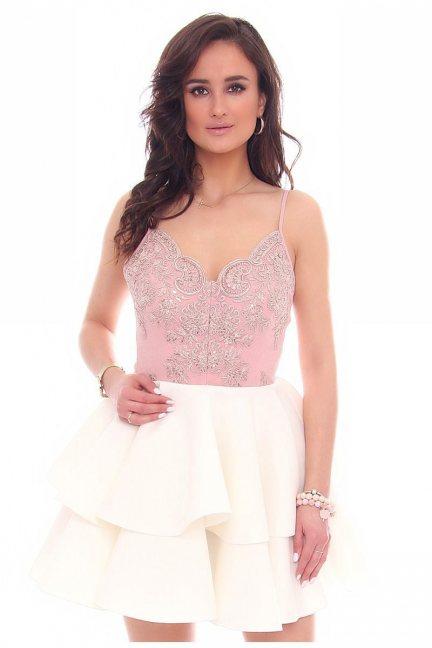 Sukienka mini z falbankami CMK38 biała