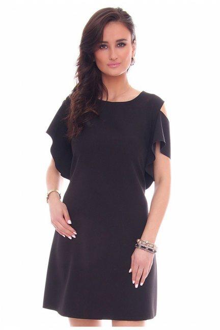 Sukienka mini falbanka CMK35 czarna