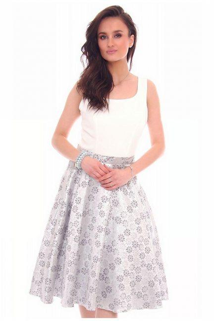 Sukienka wizytowa kwiatki CMK22 srebrna