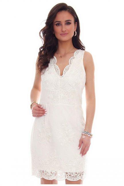 Sukienka mini z koronki CM573 biała
