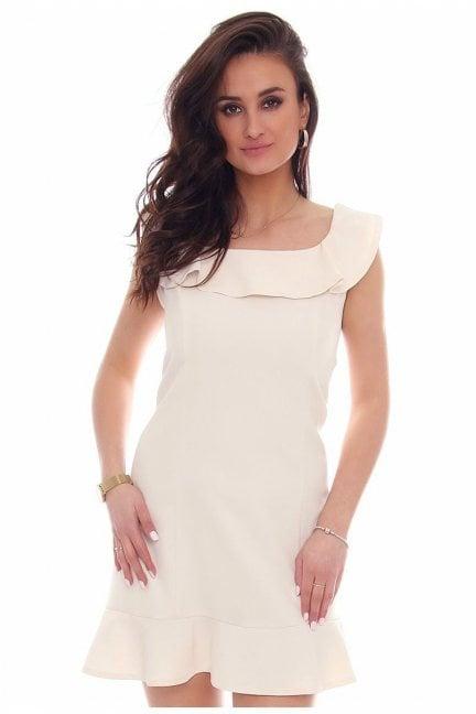 Sukienka falbanka hiszpanka CM464 ecru