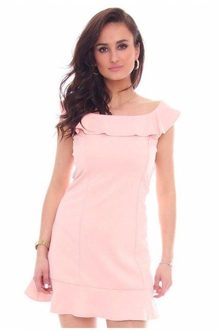 Sukienka falbanka hiszpanka CM464 różowa