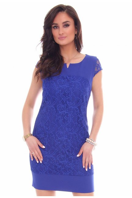 Sukienka mini z koronką CMK42 chabrowa