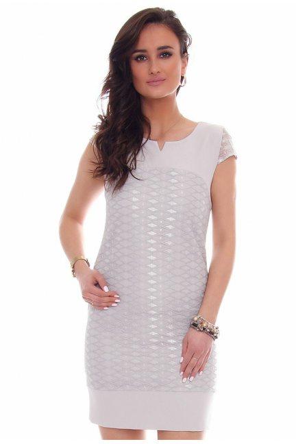 Sukienka mini z koronką CMK42 szara