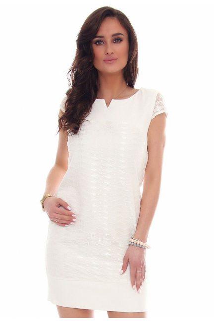 Sukienka mini z koronką CMK42 biała