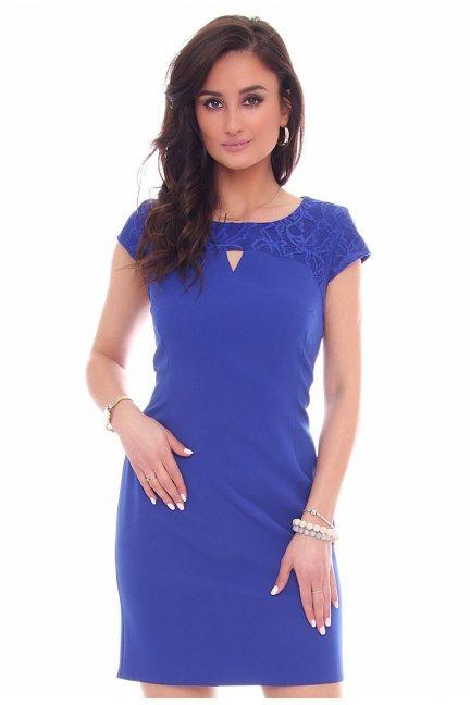 Sukienka modna wycięcie CMK43 chabrowa