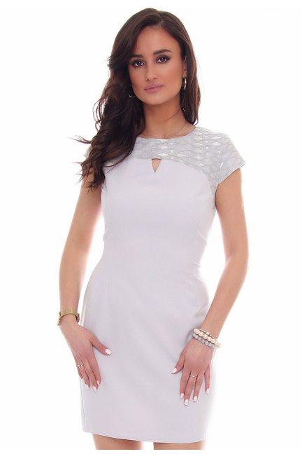 Sukienka modna wycięcie CMK43 szara