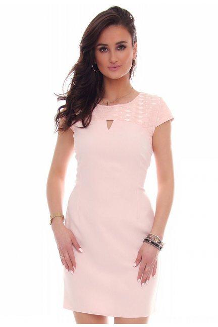Sukienka modna wycięcie CMK43 różowa