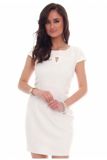Sukienka modna wycięcie CMK43 biała