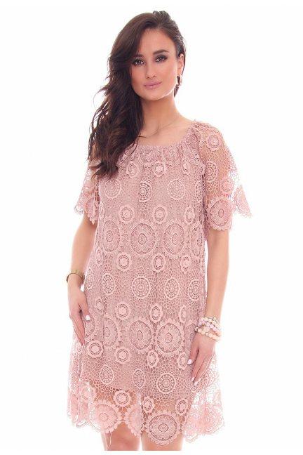Sukienka modna w koła CMK45 różowa