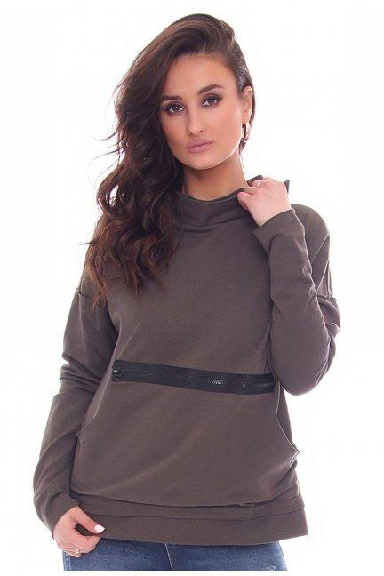 Bluza modna z suwakiem CM330 khaki