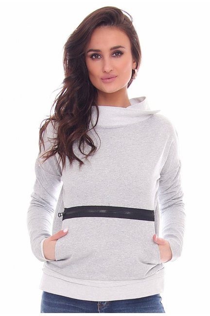 Bluza modna z suwakiem CM330 szara