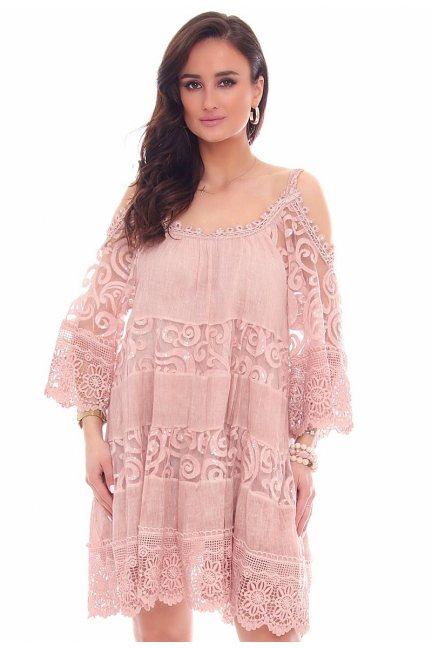 Sukienka ramiączka falbanka CMK44 różowa