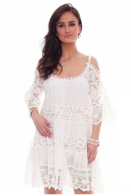 Sukienka ramiączka falbanka CMK44 biała