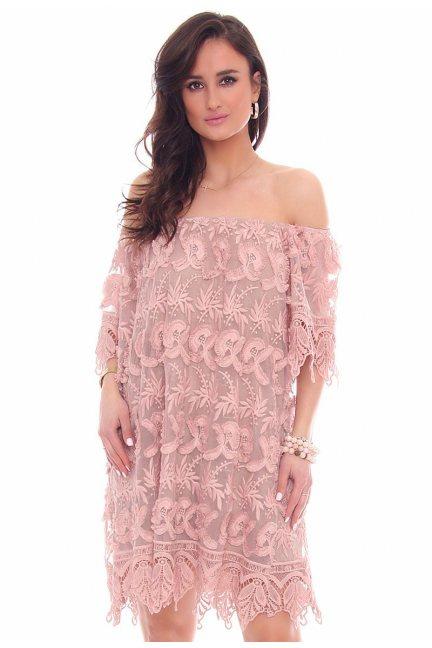 Sukienka odkryte ramiona CMK46 różowa