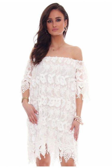 Sukienka odkryte ramiona CMK46 biała