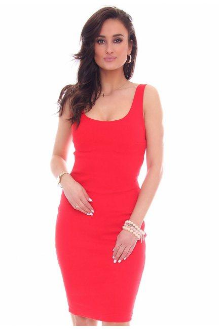 Sukienka ołówkowa blaszki CMK48 czerwona