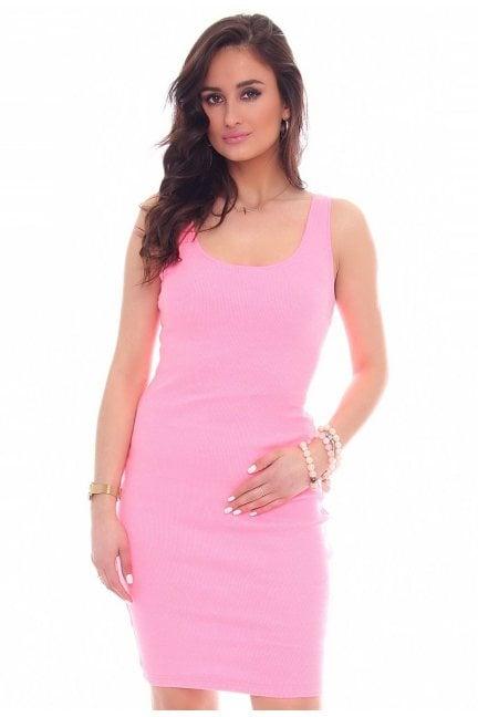Sukienka ołówkowa na ramiączka różowa