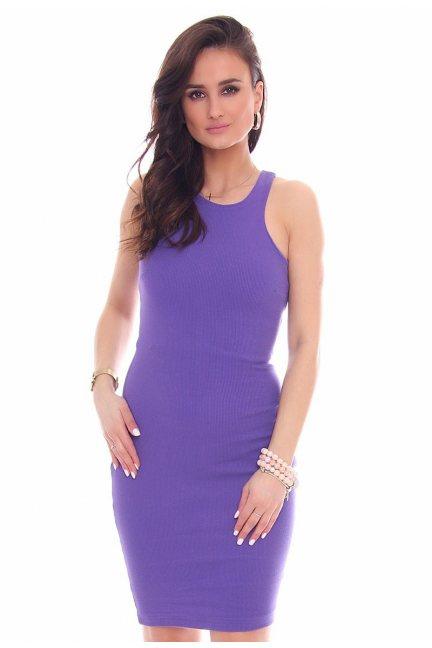 Sukienka dopasowana CMK49 fioletowa
