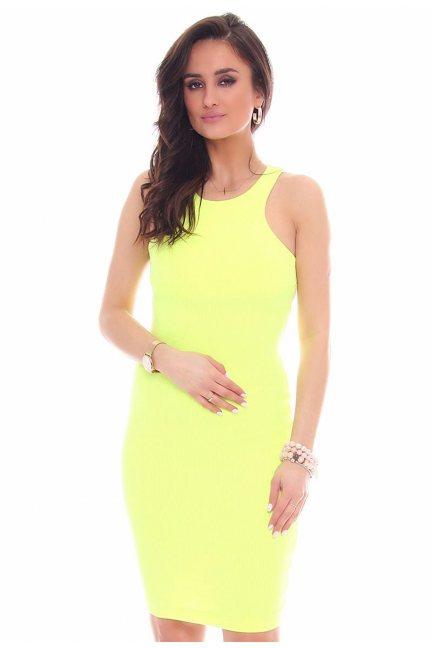 Sukienka dopasowana CMK49 neonowy żółty