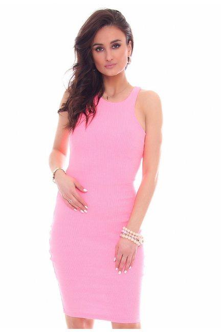 Sukienka dopasowana CMK49 różowa