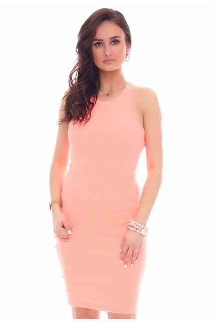 Sukienka dopasowana damska pomarańczowa