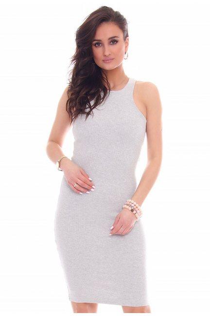 Sukienka dopasowana CMK49 szara