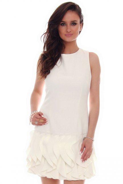 Sukienka mini z falbankami CMK187 biała