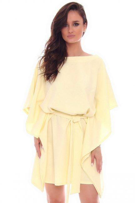 Sukienka modna nietoperz CMK982 żółta