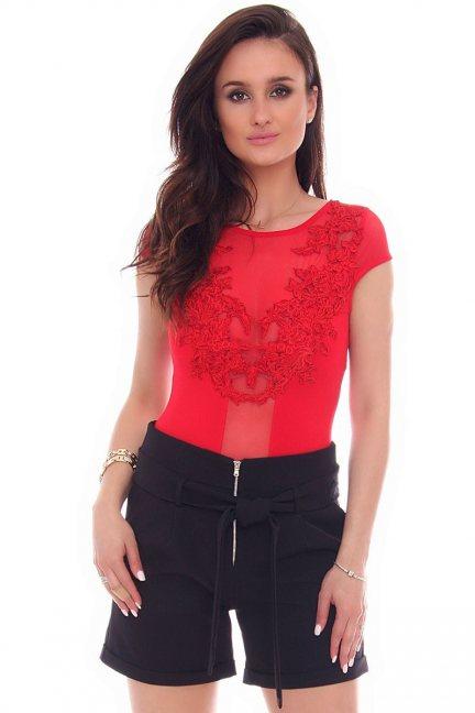 Body damskie z haftem CMK508 czerwone