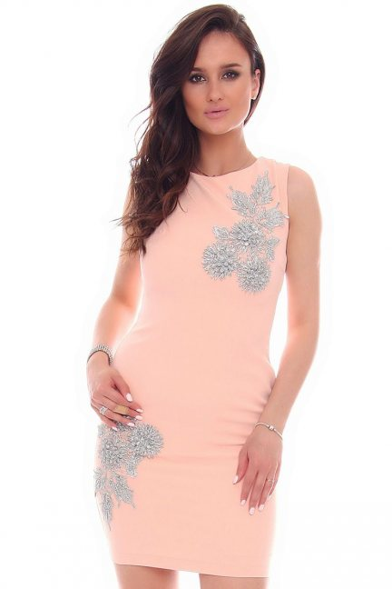 Sukienka mini z ozdobą CMK51 morelowa