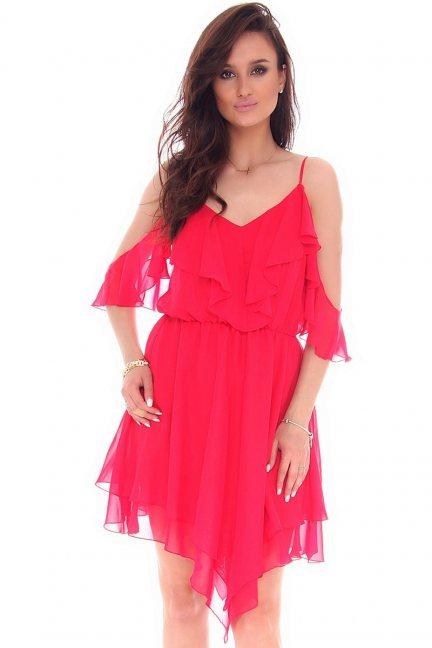 Sukienka asymetryczna rogi CMK54 czerwona
