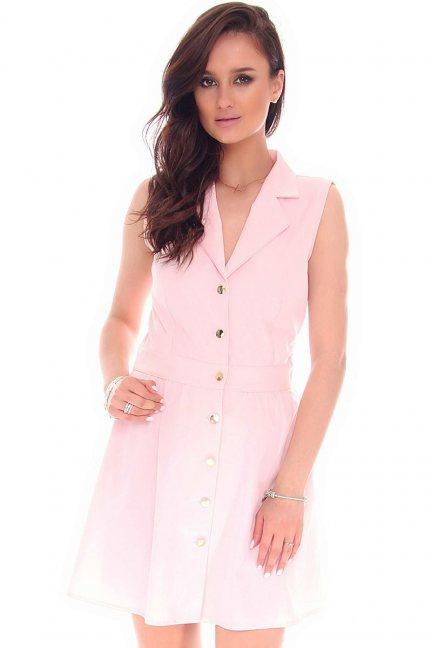 Sukienka mini z guzikami CMK55 różowa