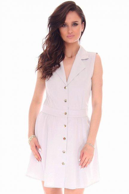 Sukienka mini z guzikami CMK55 szara